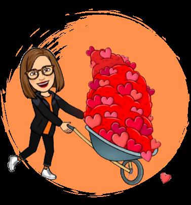 emoji Lina Cleves con un carrete lleno de corazones